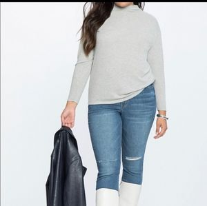 Eloquii Mock Neck Long Sleeve Blouse Gray 18/20